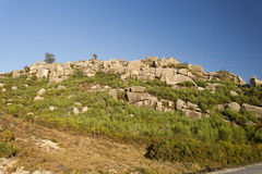 Peneda-Geres Landscapes. View of the rocky granite boulders on top of the Peneda-Geres Mountain, Northern Portugal royalty free stock photos