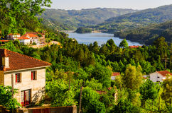 Peneda-Geres National Park. Scenic view of Cavado river and Peneda-Geres National Park in northern Portugal royalty free stock photo