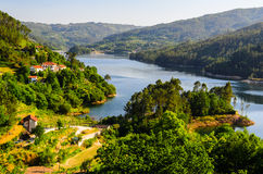 Peneda-Geres National Park. Scenic view of Cavado river and Peneda-Geres National Park in northern Portugal royalty free stock image