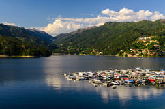 Peneda-Geres National Park. Scenic view of marina at Cavado river and Peneda-Geres National Park in northern Portugal stock photos