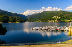 Peneda-Geres National Park. Scenic view of marina at Cavado river and Peneda-Geres National Park in northern Portugal royalty free stock image