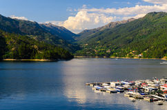 Peneda-Geres National Park. Scenic view of marina at Cavado river and Peneda-Geres National Park in northern Portugal stock images