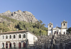 Peneda Sanctuary of Our Lady. View of the Sanctuary of Our Lady on the side of an enormous rock cliff in the Peneda Geres National Park, North of Portugal stock images