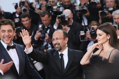 Penelope Cruz, Javier Bardem, director Asghar Farhadi royalty free stock photo