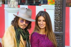 Penelope Cruz Johnny Depp. Penelope and Johnny at Walk of Fame ceremony for Penelope Stock Photo