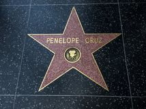 Penelope Cruz`s Star, Hollywood Walk of Fame - August 11th, 2017 - Hollywood Boulevard, Los Angeles, California, CA royalty free stock photo