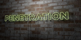 PENETRATION - Glowing Neon Sign on stonework wall - 3D rendered royalty free stock illustration Stock Photos