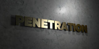 Penetration - Gold text on black background - 3D rendered royalty free stock picture Royalty Free Stock Image