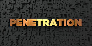 Penetration - Gold text on black background - 3D rendered royalty free stock picture Royalty Free Stock Photo