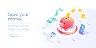 Pengaröverföring via mobiltelefonen i isometrisk vektordesign Digital betalning eller online-cashbackservice Mobil bankrörelsetra vektor illustrationer