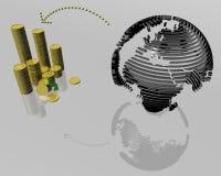 pengaröverföringsvärld Arkivfoton