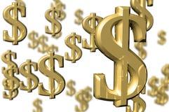 pengar 3d framför tecken Royaltyfri Fotografi