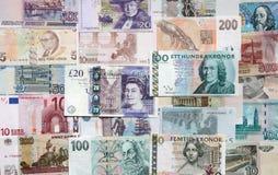 Pengar av de olika länderna. Royaltyfri Foto