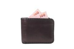 Pengar av plånboken Fotografering för Bildbyråer