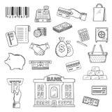 Pengar bankrörelseservice, shopping skissar symboler Arkivfoton