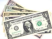 Pengar dollarsedlar, en, fem, tio, tjugo, femtio dollar Royaltyfri Fotografi
