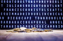 Pengar eller mynt som plattar till lopp Fotografering för Bildbyråer