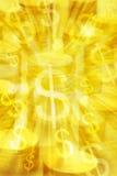 pengar för bakgrundsmyntguld Arkivbilder