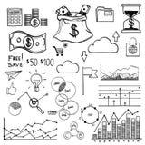 Pengar för beståndsdelar för handattraktionklotter och myntsymbol, stock illustrationer