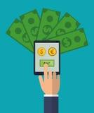 Pengar för dollar för euro för lön för handhållsmartphone Royaltyfri Bild