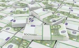 pengar för euro 100 eurokassabakgrund Europengarsedlar stock illustrationer