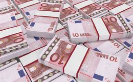 Pengar för euro 10 eurokassabakgrund Europengarsedlar Arkivbild