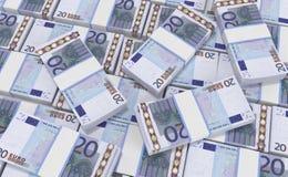 pengar för euro 20 eurokassabakgrund Europengarsedlar royaltyfri illustrationer