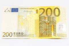 Pengar för 200 euroanmärkningar Arkivfoto