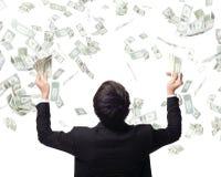 Pengar för kram för affärsman Arkivfoton