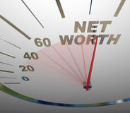 Pengar för rikedom för hastighetsmätare för netto värde stigande ökande sammanlagda Royaltyfria Bilder