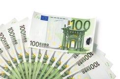 pengar för 100 sedlar för euroräkningeuro Arkivbild
