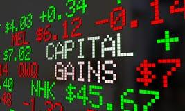 Pengar för vinst för kapitalvinstaktiemarknadhandel tjänade tickeren 3d I stock illustrationer