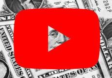 Pengar för Youtube symbolslogo royaltyfri fotografi