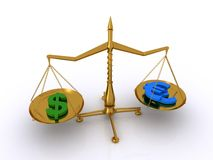 pengar för jämviktsdollareuro Arkivfoton