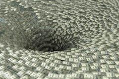 Pengar faller i svart hål Ekonomikris och konkursbegrepp royaltyfri illustrationer