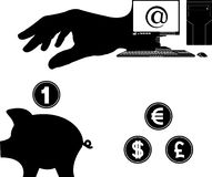 Pengar från internet Arkivfoto