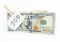 Pengar från jobb arkivfoton