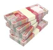 Pengar för indonesisk rupiah som isoleras på vit bakgrund Fotografering för Bildbyråer