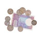 Pengar - gamla indiska rupier - samling Arkivbilder