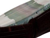 Pengar i din plånbok på 5000 rubel Royaltyfri Bild