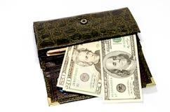 Pengar i en handväska Arkivbilder