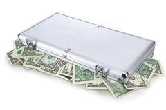 Pengar i en resväska royaltyfria foton