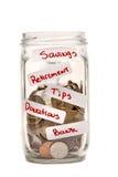 Pengar i ett krus med etiketter XXXL royaltyfri fotografi