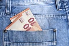 Pengar i fack Arkivbilder