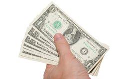 Pengar i hand Arkivfoto