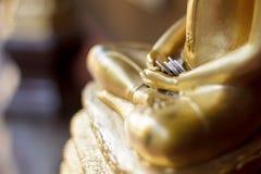 Pengar i hand av buddha Arkivbilder