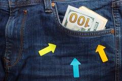 Pengar i jeansen stoppa i fickan äganderätt för home tangent för affärsidé som guld- ner skyen till blåa pengar för jeans för bil Royaltyfria Bilder
