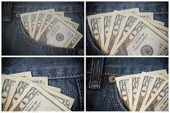 Pengar i jeansen stoppa i fickan Dollar Uppsättning för tjugo dollarräkningar Arkivfoto