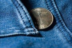 Pengar i jeansfack Arkivbilder