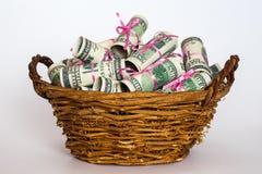 pengar i korgen Fotografering för Bildbyråer